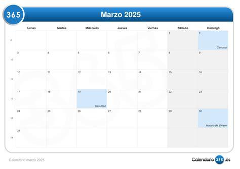 Calendario De 2025 Calendario Marzo 2025
