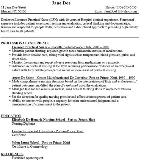 lpn resume templates sle resume for lpn jennywashere