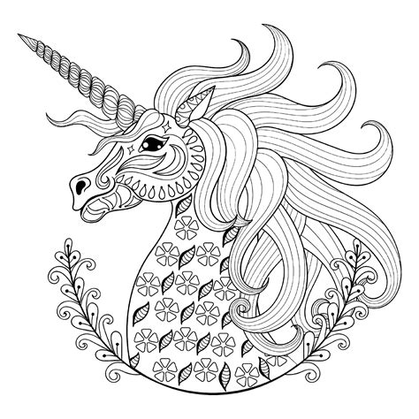 coloring pages unicorn head unicorn head with patterns unicorns adult coloring pages