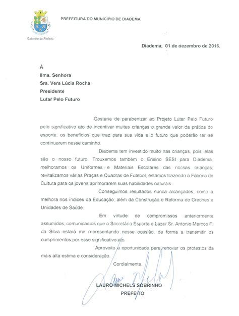 carta  prefeito de diadema   lpf lutar pelo futuro