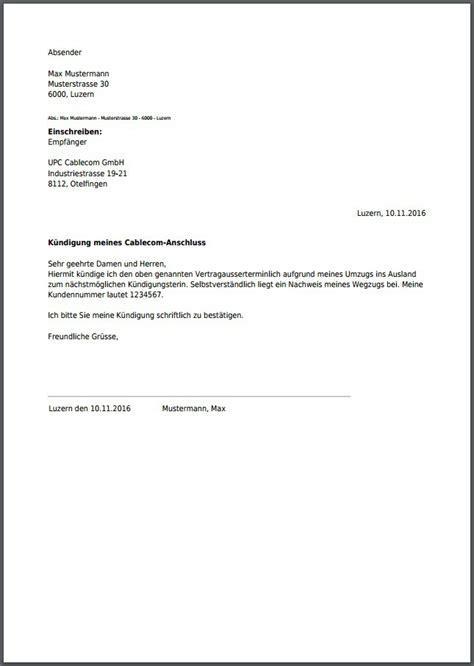 Vorlage Kündigung Abo Englisch upc cablecom k 252 ndigung als pdf erstellen