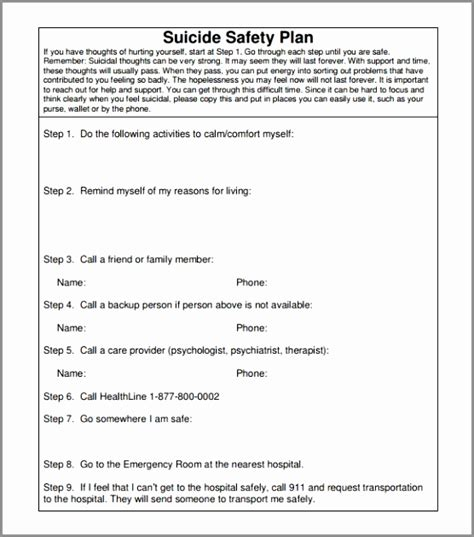 safety plan suicidal ideation template safety plan suicidal ideation template gallery templates