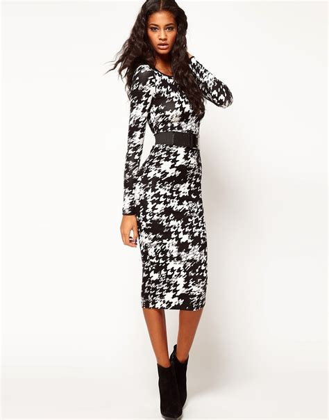asos asos bodycon dress in dogtooth with wide belt at asos