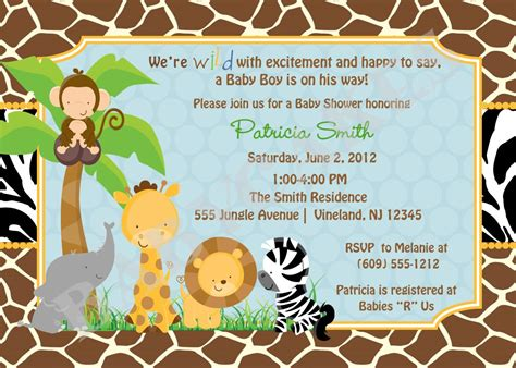 printable zoo animal invitations baby shower invitations safari theme wording safari