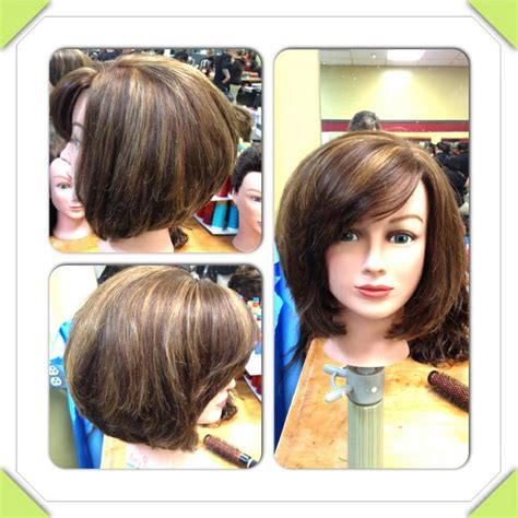 how to cut stack bob with side swept bangs layered stacked bob with side swept bangs by beallen