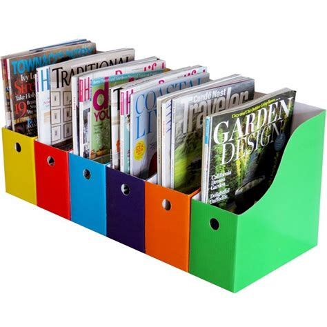 home office 6 magazine file holder bin desk storage