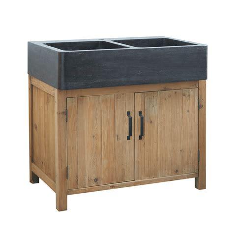 sink units kitchen recycled pine kitchen sink unit w 90 pagnol maisons du monde