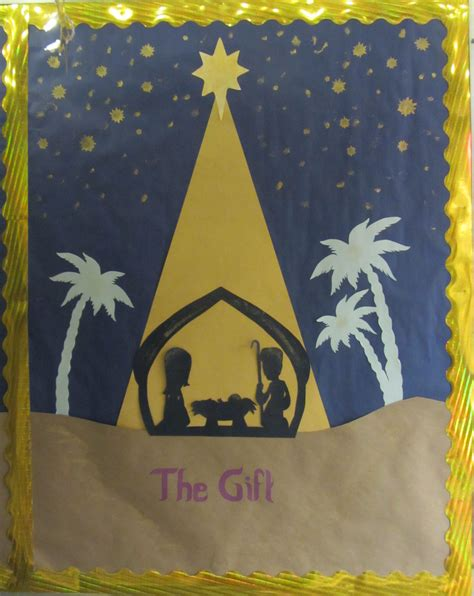 christmas gifts for church boards quot the gift quot three part bulletin board manger spiritual bulletin boards