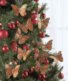 christmas holiday tree wreath butterfly clip ornaments in gold red o
