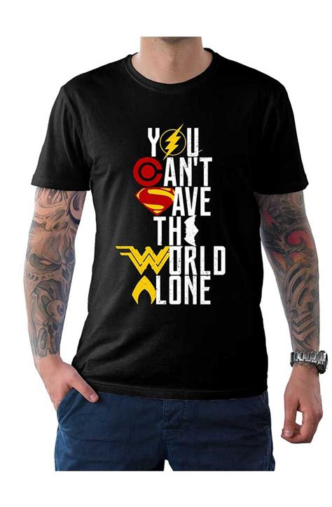 Kaos Superheroes Justice League You Can T Save The World Alone you cant save the world alone t shirt justice league