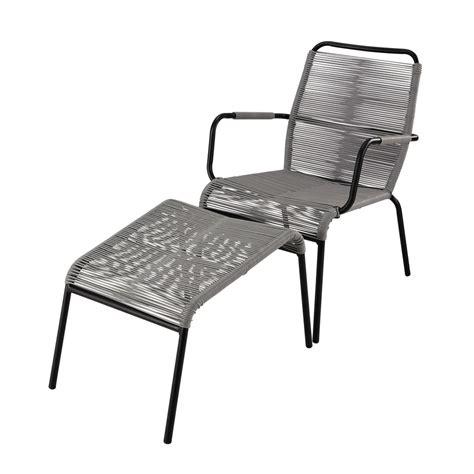 fauteuil repose pied fauteuil de jardin repose pied en poly 233 thyl 232 ne et m 233 tal anthracite scoubi maisons du monde