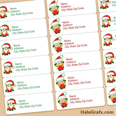 printable christmas minions address labels