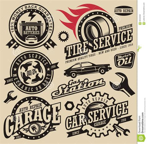 retro vintage style icon collection stock illustration car service symbols stock vector image of speed