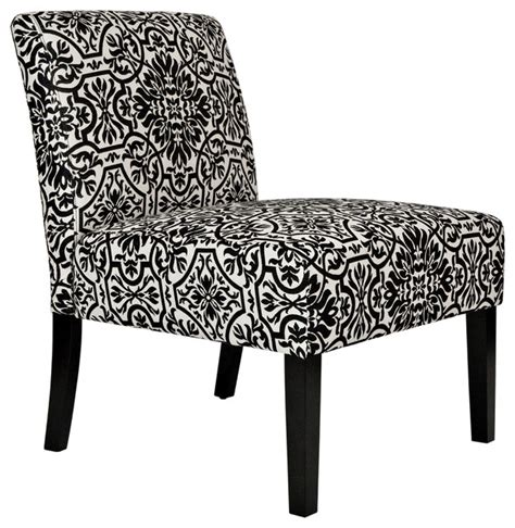angelohome bradstreet black  white damask upholstered armless chair contemporary
