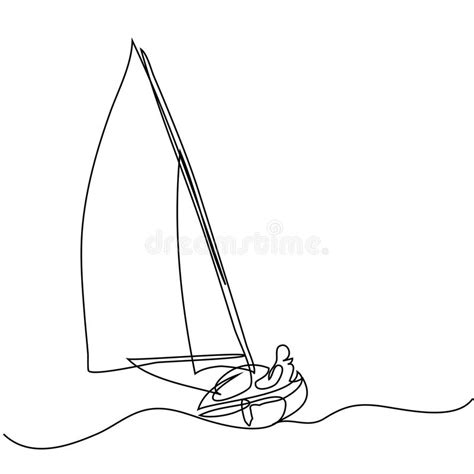 sailboat line drawing vector continuous line drawing of sailboat with captain stock