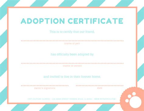 pet adoption certificate template pet adoption certificate templates by canva