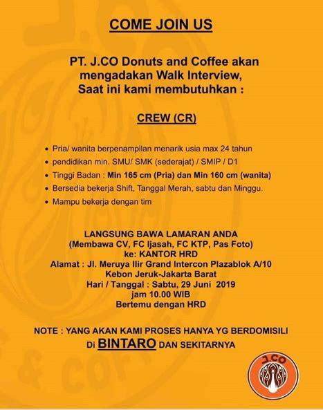 penerimaan tenaga crew pt jco donuts  coffee minimal