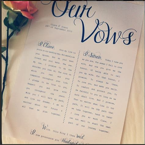 sle of marriage vows wedding vows printed with your personal wording