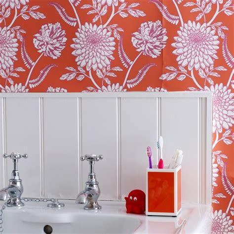 using wallpaper in bathrooms white bathroom with red wallpaper modern bathroom housetohome co uk