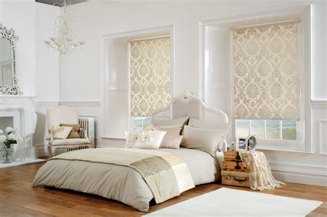 cream gold bedroom shimmering cream gold damask roller blinds in a white and