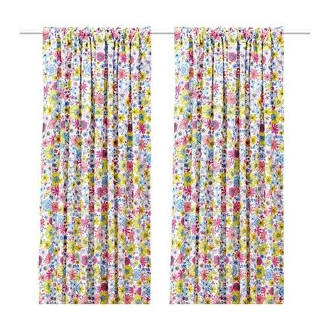 floral curtains ikea ikea barbro pair of curtains floral pattern ebay