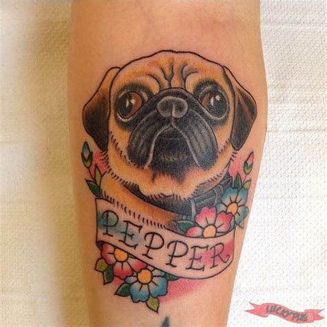 pug tattoos color arm pug tattoos picture gallery sleeve pug