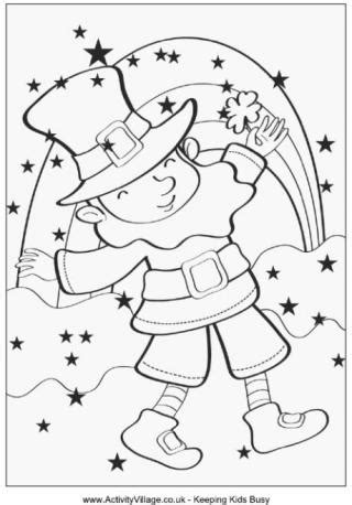 rainbow coloring page with leprechaun st patrick s day children s stories poems carolyn s