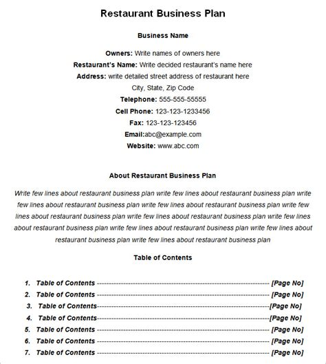 restaurant business plan template restaurant business plan template 7 free pdf word