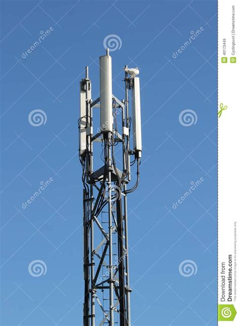 three sector mobile telephone base station on lattice girder tower stock photo image 40173449