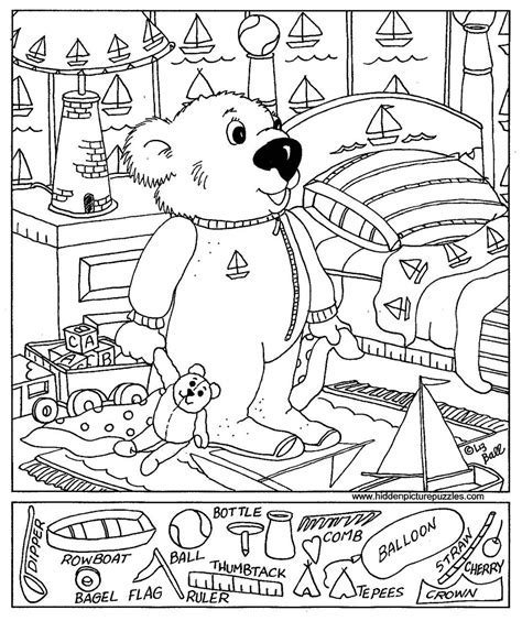 printable simple hidden pictures easy hidden object printables sketch coloring page