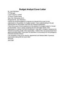 Budget Officer Cover Letter by Budget Analyst Cover Letter Template Hashdoc