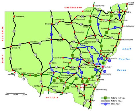 printable nsw road map ozroads nsw highways