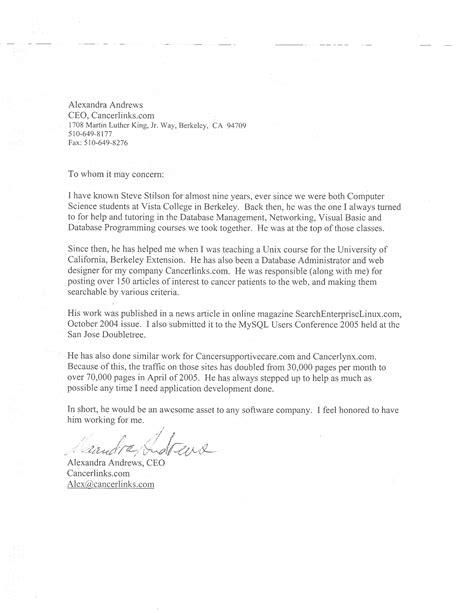 City College Letter Of Recommendation Steve Stilson S Page