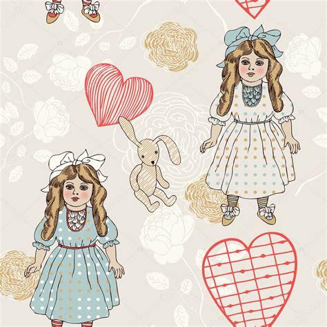 doll design wallpaper tecido sem costura de vetor de estilo retro padr 227 o papel