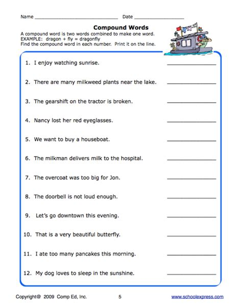 Compound Worksheets by School Express Compound Word Worksheet Education World