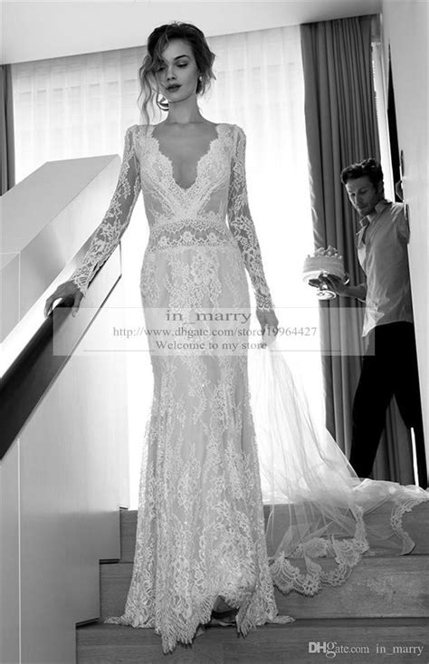 2016 Spring Lihi Hod Mermaid Wedding Dresses Long Sleeves Sexy Deep V Neck Backless Plus Size