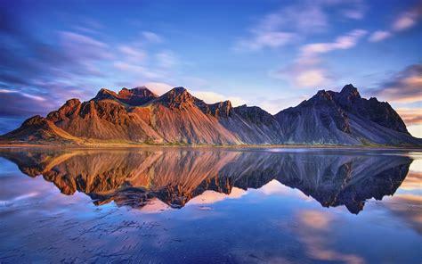 wallpaper iceland vestrahorn mountains sea water