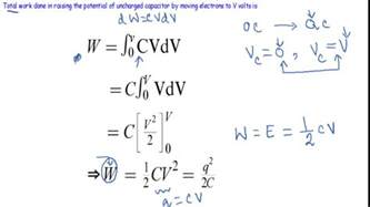 energy stored in a capacitor derivation energy stored in capacitor
