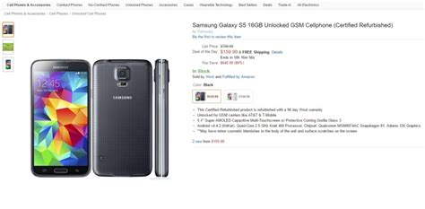 best samsung s5 deals deal get a galaxy s5 certified refurb for just 160 on