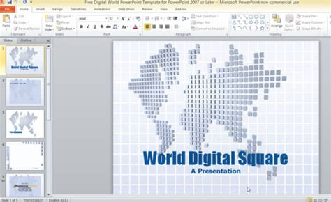Free Digital World Powerpoint Template For Powerpoint 2007 Or Later Digital Powerpoint Template
