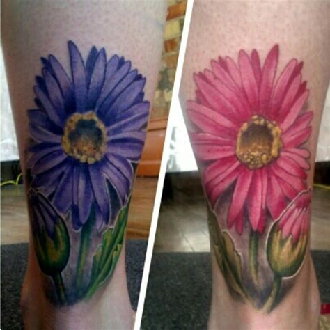 gerber daisy tattoo purple and pink gerber tattoos by mike riina at