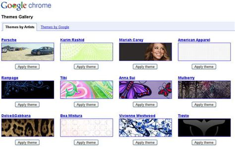 themes gallery google chrome google chrome theme gallery now with more themes