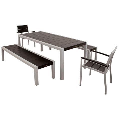 Patio Dining Set With Bench Trex Outdoor Furniture Surf City Textured Silver 5 Bench Plastic Outdoor Patio Dining Set