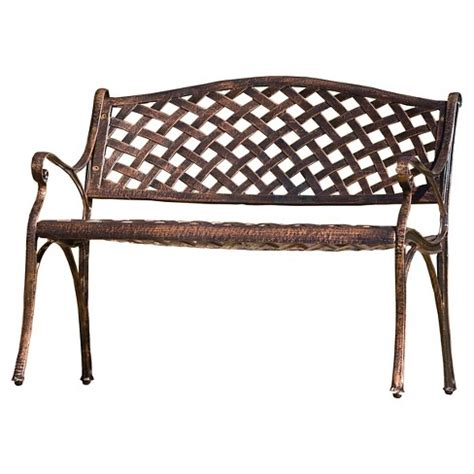 christopher knight home cozumel antique copper cast aluminum bench cozumel cast aluminum patio bench antique copper