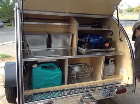 photos of galley options teardrops etc pinterest trailers trailer storage and teardrop stainless steel interior of the kitchen galley of a