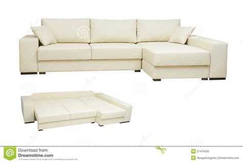couch color beautiful leather sofa beige color on a white royalty free