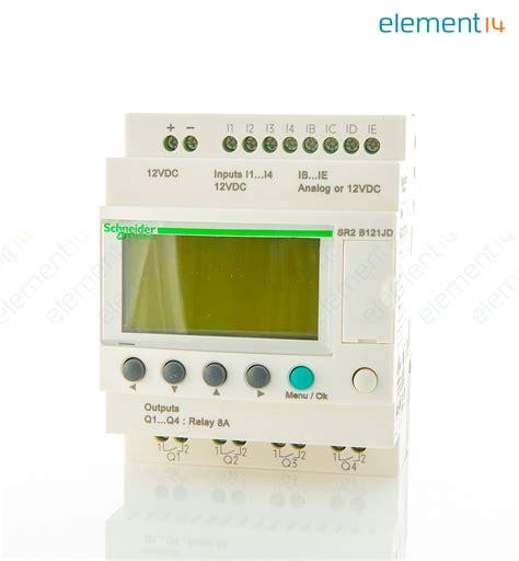 sr2b121jd schneider electric zelio sr2 12 i o 12vdc w display newark element14
