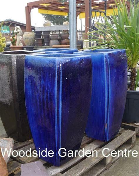 Blue Garden Planters by Milan Blue Glazed Pot Planters Woodside Garden