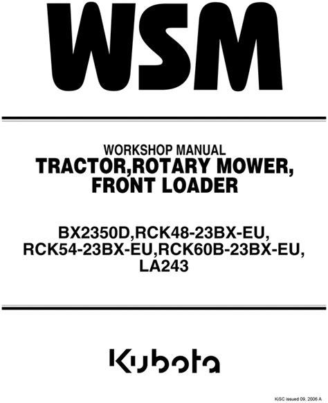 Kubota Bx 2350 Bx2350d D Service Workshop Repair Manual