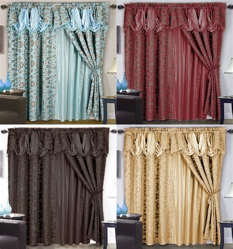 curtain setting 4 pc luxurious satin jacquard damask curtain set waterfall
